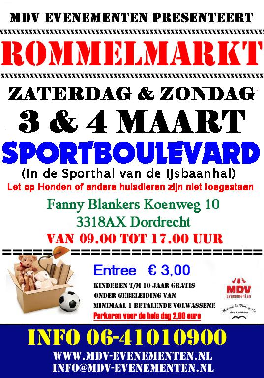 3 & 4 Maart 2018 Rommelmarkt Sportboulevard Dordrecht