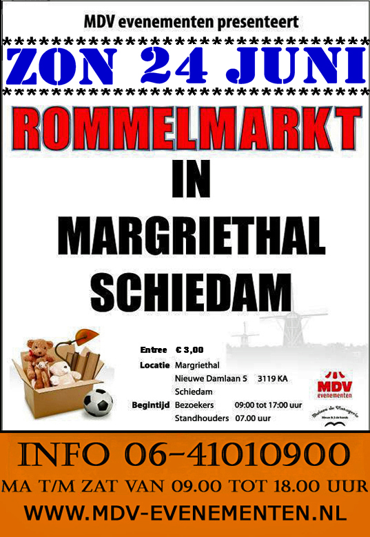 24 Juni 2018 Rommelmarkt in de Margriethal in Schiedam