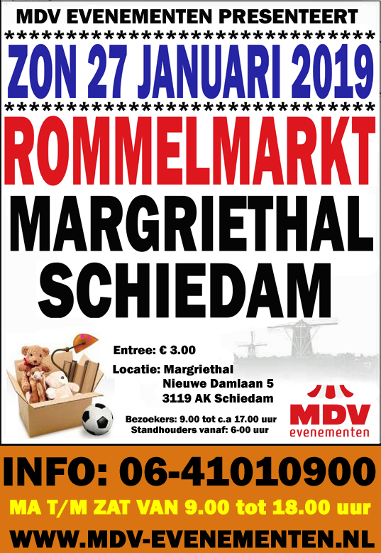 27 Januari 2019 ( GEEN HOEKKRAMEN MEER ) Rommelmarkt in de Margriethal in Schiedam