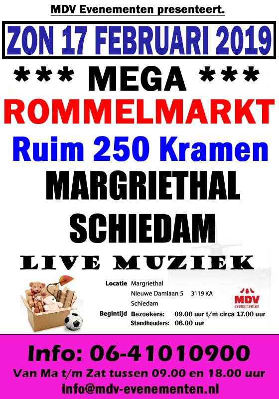 17 Februari 2019 ( GEEN HOEKKRAMEN MEER ) de Giga Mega-Rommelmarkt in de Margriethal Schiedam