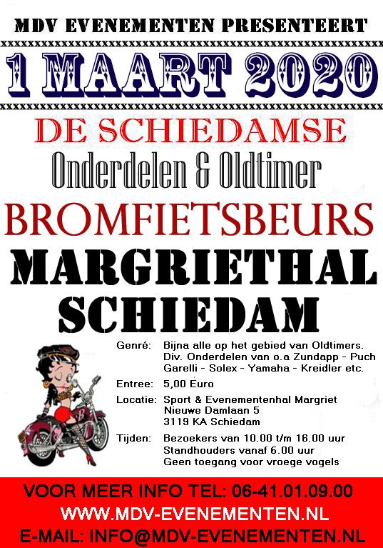 1 Maart 2020 De Oldtimer Bromfiets & Onderdelenbeurs Margriethal in Schiedam