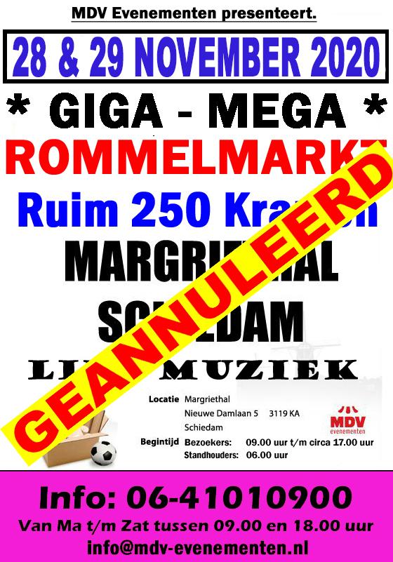 28 & 29 November 2020 ( GEANNULEERD ) De Mega-Rommelmarkt in de Margriethal in Schiedam