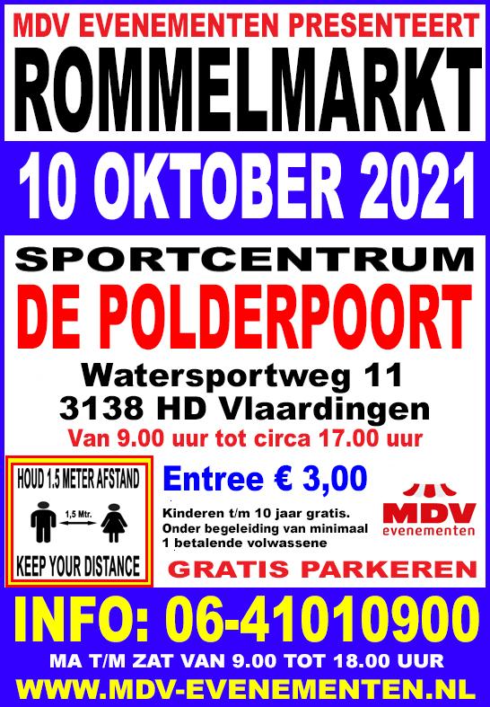 10 Oktober 2021  Rommelmarkt  Sportcentrum De Polderpoort Vlaardingen West